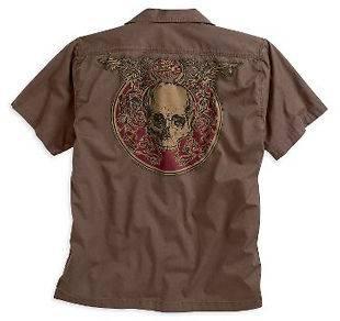 Ink Tattoo Harley Brown Skull Short Sleeve Shirt 96503 10vm