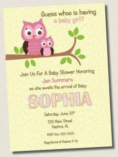 Printable DAMASK PINK OWL GIRL BABY SHOWER INVITATIONS BIRTHDAY PARTY