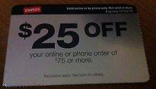 Staples Coupon Gift Card $25 off $75 or more ( Online or by Phone only