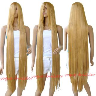130cm 51 Long Rapunzel Tangled Light Golden Blonde Straight Cosplay