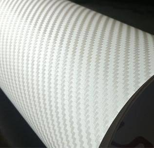 WHITE 60 X 12 3D CARBON FIBER VINYL TEXTURED ROOF HOOD TRUNK WRAP