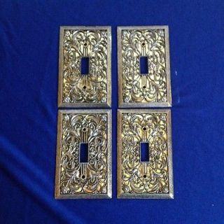 Four (4) Amerella Light Switch Covers Metal Brass Ornate Wall Plates