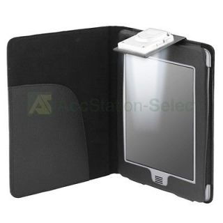 Black Folio Leather Case Cover Pouch With LED Light For Kindle Touch