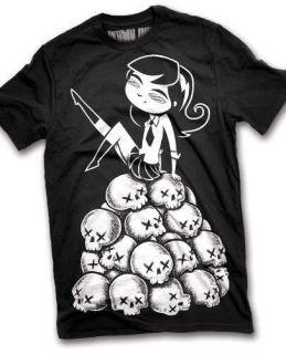 Akumu Ink Skull Girl T Shirt Horror Gothic Punk Horror Womens Top