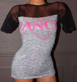 Tias Dancewear Adult Gray and Pink Dance Tee with Mesh Top