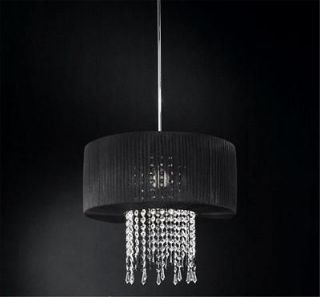 Drum Shade Crystal Chandelier Lighting Chrome Ceiling Pendant Lamp