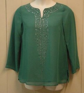 Bob Mackie Metallic Cascade Georgette Tunic Size 1X Emerald