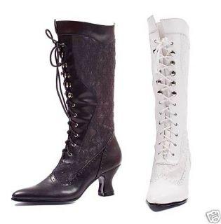 White / Black Victorian Lace Granny Boots size 6 10