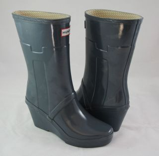 Hunter Boots Kellan WOMEN Wedge Gray Rain Boots Sz 9 $1