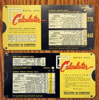 1953 Square D Company Motor Data Calculator