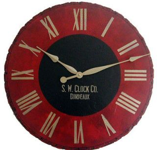 Large Wall Clock 30 Antique Red Black Tuscan Bordeaux