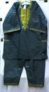 Men Brocade African Clothing Pant Suit HGreen & Gold DoesntCome M L