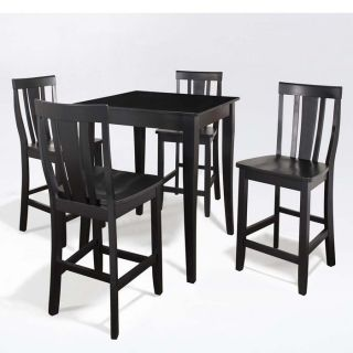 Brookstone 5 Pc Pub Dining Set Table with 4 Cabriole Leg Shield Back