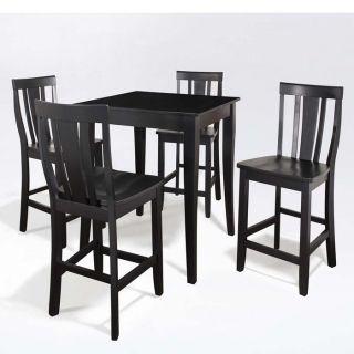 Brookstone 5 Pc Pub Dining Set Table with 4 Cabriole Leg Shield Back