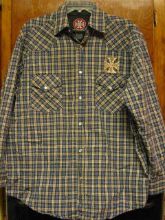 WEST COAST CHOPPERS JESSE JAMES Western Style Blue Plaid Shirt with