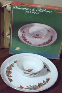 FINE CHINA POINSETHIA & RIBBON 2 PIECE CHIP & DIP SET NEW IN BOX
