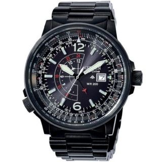 CITIZEN NIGHTHAWK BLACK EURO ECO DRIVE PILOTS WATCH BJ7019 62E BJ7005