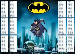 NEW Batman Superhero Learning Maths Times Tables Multiplication Chart