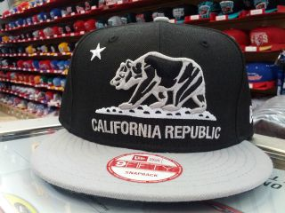NEW ERA 9FIFTY CALIFORNIA REPUBLIC SNAPBACK CAP, HAT BLACK / GREY