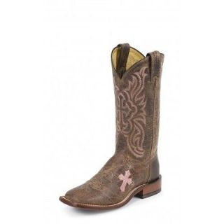 Tony Lama TC1005L Tan & Pink Cross Inlay Square Toe Cowgirl Boots