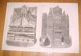 1862 Antique Print of Organs Orchestrion & Church Organ