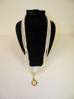 FRANKLIN MINT FABERGE THREE STRAND FAUX PEARL NECKLACE WITH CLOCK