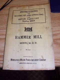 OPERATING MANUAL MINNEAPOLIS MOLINE HAMMER MILL M H D on