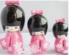 New 1Sets 3pcs KOKESHI ORIENTAL JAPANESE WOODEN DOLLS