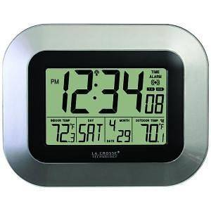 LA CROSSE DIGITAL ATOMIC WALL CLOCK SILVER IN and REMOTE OUT TEMP NEW