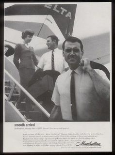 Airlines stewardess & plane photo Manhattan mens shirt vintage ad