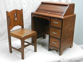 Childs Wood Roll Top Desk & Chair Art Deco Moderne