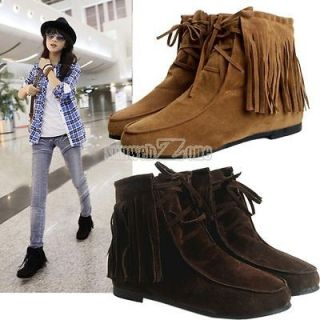 Pretty Classic Soft Tassels Lace UP Flats Inside Shoes Ankle Boots