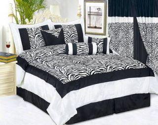 /King Size Zebra Comforter Set White/Black Animal Print Bed In a Bag