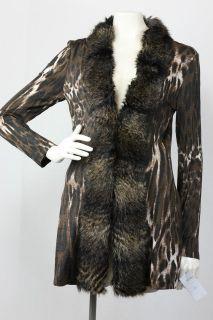 Alberto Makali Brown/Black Animal Print Faux Fur Cardigan XS S M L