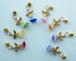 Pet Collar Tag x 1   Dog or Cat Guardian Angel Gold Charm and Bell