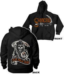 SONS OF ANARCHY ORANGE PRINT SAMCRO RIFLE REAPER BACK ZIP UP HOODIE