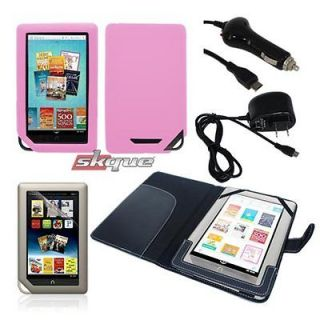 Case Cover+Pink Silicone Skin+Wall+Car Charger For Nook Color/Tablet