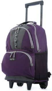 Olympia 19 Rolling Wheeled Backpack Kids School Lavender Purple