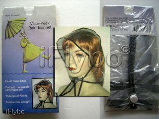 Visor Peak Rain Bonnet with reclosable pouch Fashionable Design
