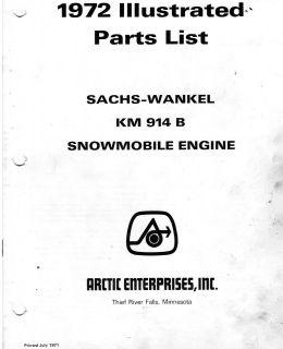 VINTAGE ARCTIC CAT SNOWMOBILE WANKEL ENGINE PARTS BOOK