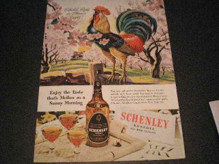 1946 Schenley Reserve Whiskey Ad Rooster Pink Flowering Trees