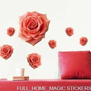 LARGE ROSE DECOR MURAL ART WALL PAPER STICKER