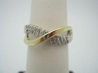 10k Two Tone Yellow & White Gold Infinity Symbol W/ .15 Nat Diamonds