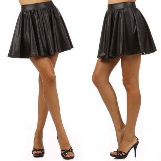 NEW  Popular Fashion Trend Matte SKATER Black Faux Leather Skirt