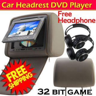 Gray 2x7 inch Headrest Universal Car Pillow DVD Player Monitor Games