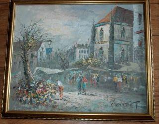 French Impressionist Flower Market Street Scene Oil Painting Burnett
