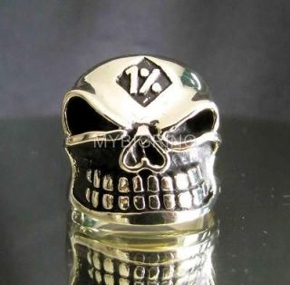BRONZE BIKER RING GRINING SKULL 1% ER GNOME MOTORBIKE CLUB MC ANY SIZE