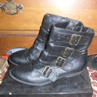 Madden Girl Black Buckle Ankle Boots SZ 6