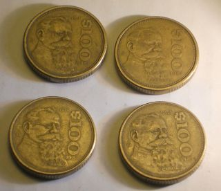 Lot of 4 Mexico $ 100 Pesos 1984   1985 Mexican Coins