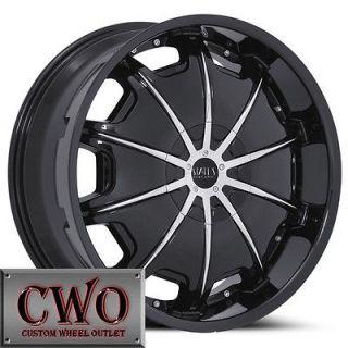 24 Black Status Grinder Wheels Rims 6x139.7 6 Lug Chevy Tahoe Escalade